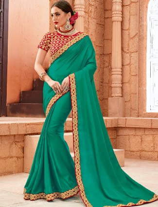 Green crape plain festive wear saree