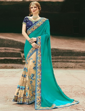 Green cream net chiffon saree
