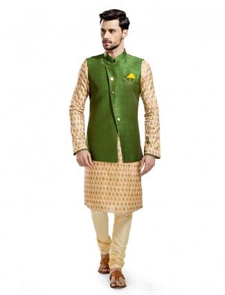 Green cream silk wedding wear waistcoat set