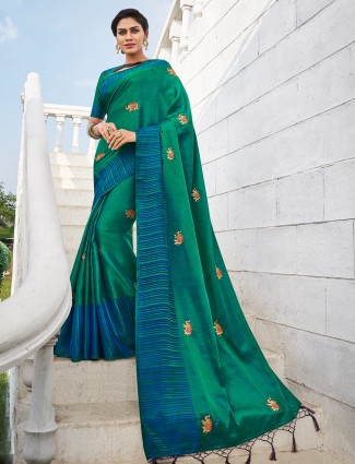 Green designer handloom cotton saree for festival