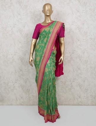 Green designer pure banarasi silk saree for wedding functions