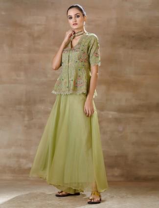 Green designer salwar suit with lehenga in organza tissue