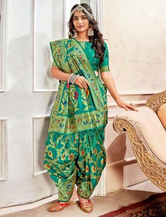 Green designer saree in banarasi silk