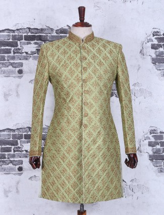 Green designer silk wedding wear indo western