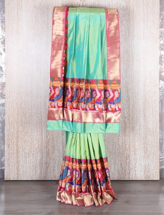 Green dhupchav silk saree