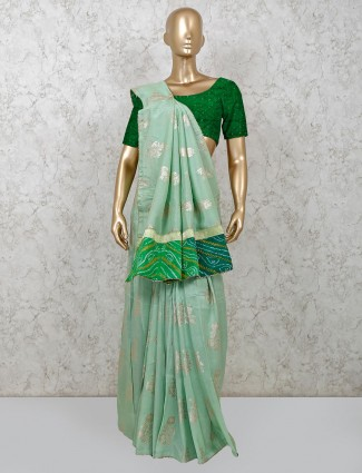 Green dola silk party wear saree