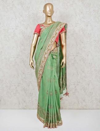 Green dola silk wedding designer contrast readymade blouse saree