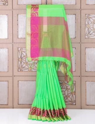 Green dressy bhagalpuri silk festive saree