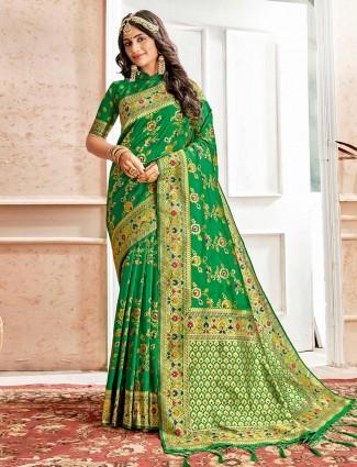 Green embroidery banarasi silk saree