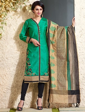 Green festive chanderi silk salwar suit