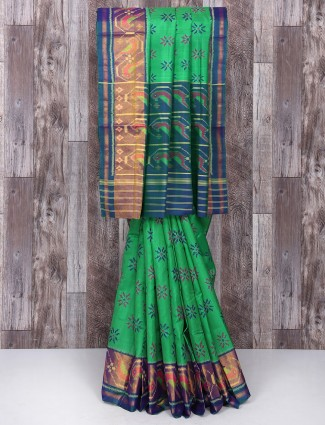 Green festive function silk saree