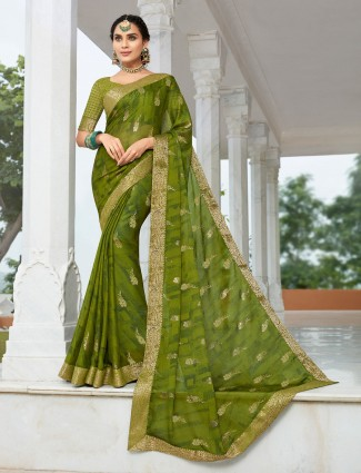 Green festive get together saree in chiffon
