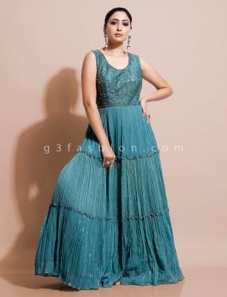 Green floor length dress for wedding fuction