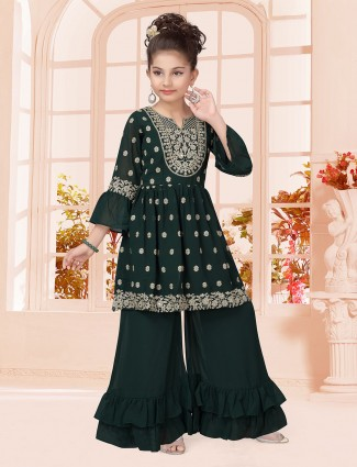 Green georgett party punjabi sharara suit