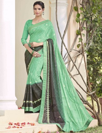 Green georgette festive wear saree