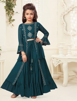 Green georgette hue punjabi sharara suit
