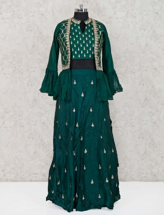 Green georgette jecket style lehenga suit