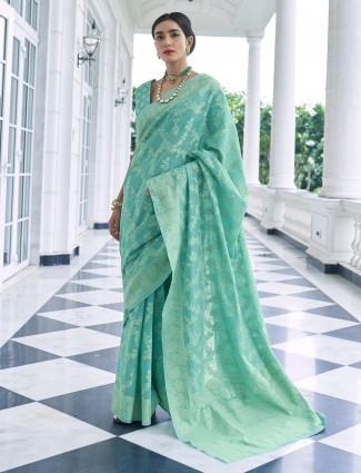 Green georgette lucknowi work wedding saree