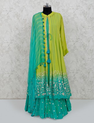Green georgette party function anarkali style suit