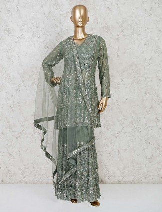 Green georgette party wear punjabi sharara suit