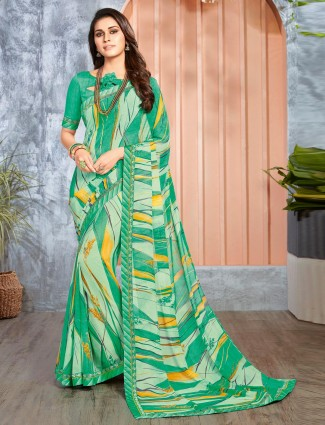 Green georgette pretty saree in printed