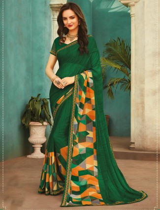 Green georgette printed saree festival wear