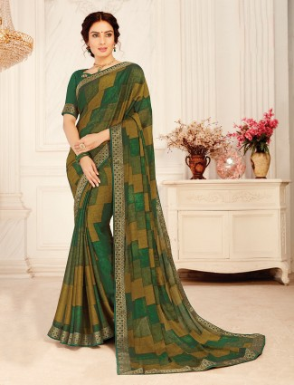 Green georgette printed saree in festive