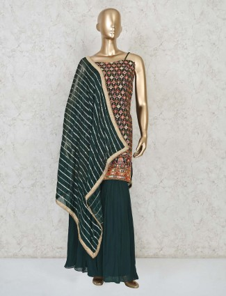 Green georgette punjabi sharara suit for wedding