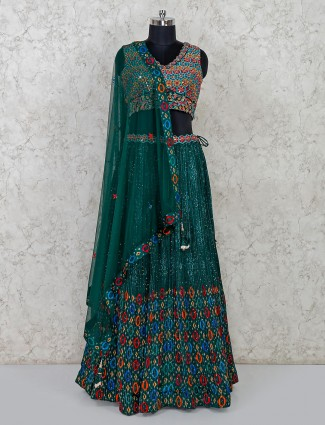Green georgette wedding special lehenga choli