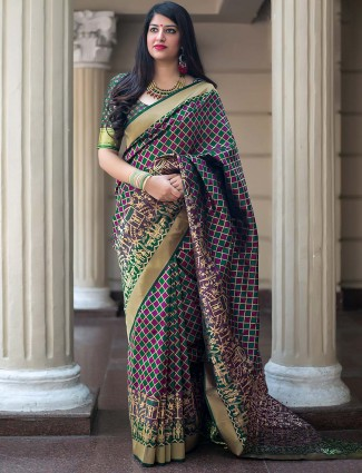 Green hue banarasi silk festive saree