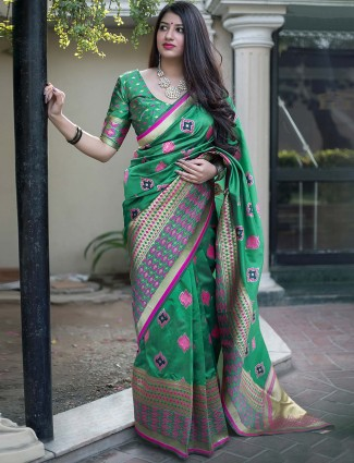 Green hue banarasi silk pretty saree