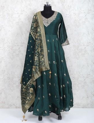Green pakistani cotton silk fabric floor length anarkali suit