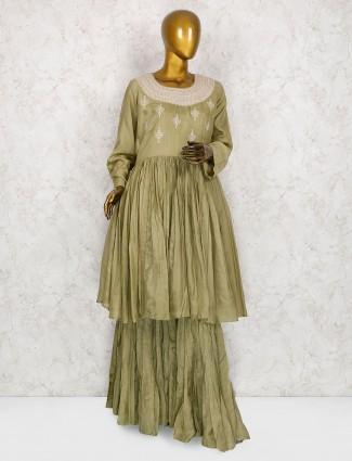 Green hue cotton silk fabric punjabi sharara suit