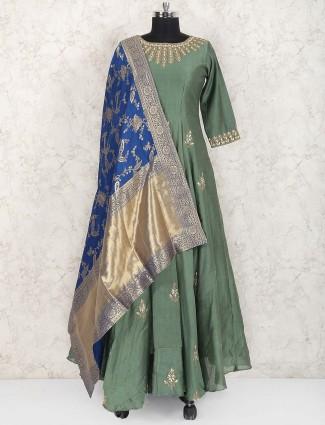 Green hue cotton silk pakistani festive anarkali suit