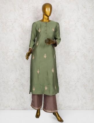 Green hue cotton silk punjabi salwar suit