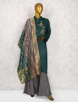 Green hue cotton silk punjabi sharara suit