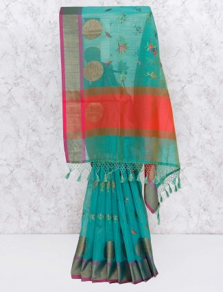 Green hue cotton silk saree for festive wear