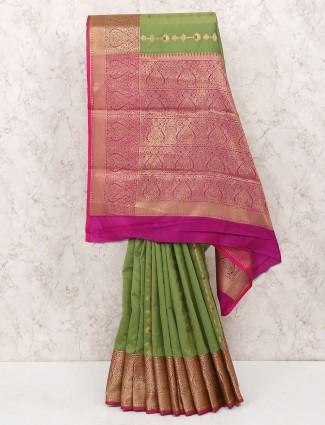 Green hue cotton silk sari