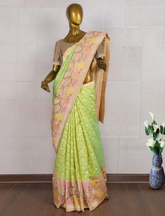 Green hue designer pure banarasi saree