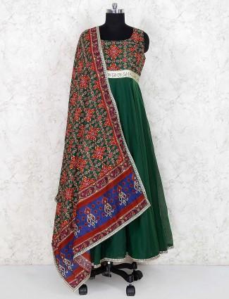Green hue festive floor length anarkali salwar suit