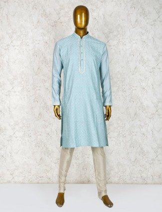Green hue festive kurta suit in cotton silk fabric