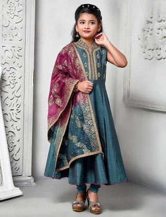 Green hue festive raw silk floor length anarkali salwar suit