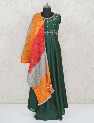 Green hue floor length cotton anarkali suit