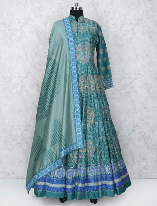 Green hue floor length cotton silk anarklai suit