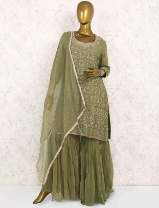 Green hue georgette punjabi sharara suit