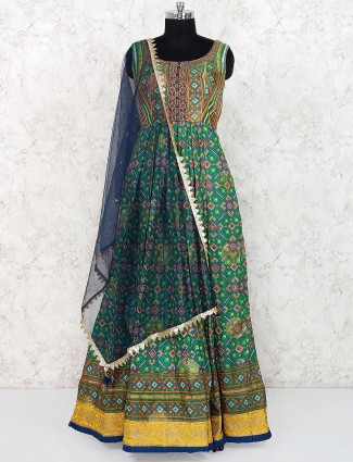 Green hue gorgeous anarkali salwar suit in cotton silk