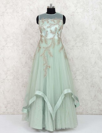 Green hue net party Gown