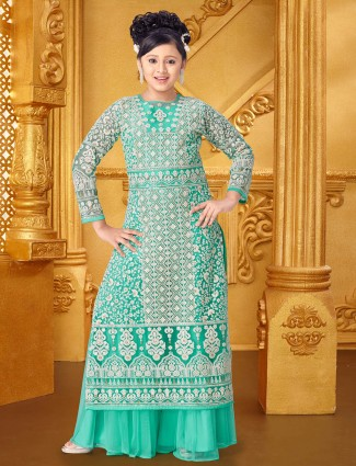 Green hue net party wear palazzo suit