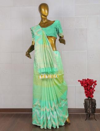 Green hue pretty banarasi silk saree