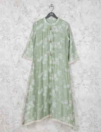 Green hue printed cotton kurti